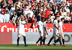 February 23, 2019 - Seville, Madrid, Spain - Gabriel Mercado (Sevilla FC) seen in action during the La Liga match between Sevilla FC and Futbol Club Barcelona at Estadio Sanchez Pizjuan in Seville, Spain. (Credit Image: © Manu Reino/SOPA Images via ZUMA Wire)