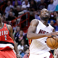 08 March 2011: Miami Heat shooting guard Dwyane Wade (3) drives past Portland Trail Blazers guard Wesley Matthews (2) during the Portland Trail Blazers 105-96 victory over the Miami Heat at the AmericanAirlines Arena, Miami, Florida, USA.