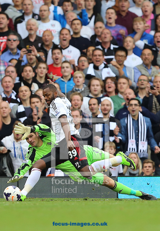 Picture by Richard Calver/Focus Images Ltd +447792 981244<br /> 05/10/2013<br /> Darren Bent of Fulham scores the winning goal of the game against Stoke City in the Barclays Premier League match  at Craven Cottage, London.