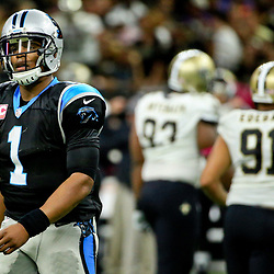 Oct 16, 2016; New Orleans, LA, USA; Carolina Panthers quarterback Cam Newton (1) reacts after an incomplete pass against the New Orleans Saints during the third quarter of a game at the Mercedes-Benz Superdome. The Saints defeated the Panthers 41-38. Mandatory Credit: Derick E. Hingle-USA TODAY Sports