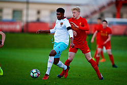 KIRKBY, ENGLAND - Friday, March 31, 2017: Liverpool's Luis Longstaff in action against West Ham United's Ben Johnson during an Under-18 FA Premier League Merit Group A match at the Kirkby Academy. (Pic by David Rawcliffe/Propaganda)