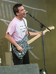 © Licensed to London News Pictures. 29/08/2015. Reading Festival, UK.  FIDLAR performing at Reading Festival 2015, Day 2.  In this picture - Zac Carper.   Photo credit: Richard Isaac/LNP