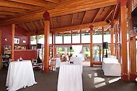 The large tent is set and ready for a wedding on the patio of the Whistler Golf Club.