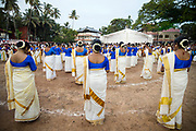 KOCHI, INDIA - 10th September 2019 - Women perform a traditional dance at a public park during Onam festival celebrations in Kochi (Cochin) Kerala. Kochi (Cochin), Kerala, Southern India.