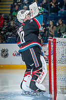 KELOWNA, CANADA - OCTOBER 19: Jordon Cooke #30 of the Kelowna Rockets stands in net against the Prince George Cougars on October 19, 2013 at Prospera Place in Kelowna, British Columbia, Canada.   (Photo by Marissa Baecker/Shoot the Breeze)  ***  Local Caption  ***