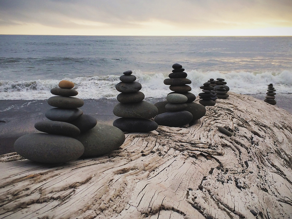 Stacked rocks at Rialto Beach
