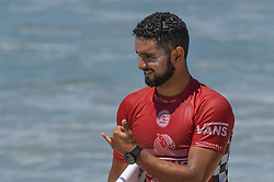 August 1, 2018 - Huntington Beach, California, U.S - MICHAEL RODRIGUES, from Brazil, celebrates winning his second round heat of the Vans US Open held at Huntington Beach, California. (Credit Image: © Amy Sanderson via ZUMA Wire)