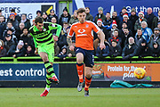 Forest Green Rovers Christian Doidge(9) shoots at goal during the EFL Sky Bet League 2 match between Forest Green Rovers and Luton Town at the New Lawn, Forest Green, United Kingdom on 16 December 2017. Photo by Shane Healey.