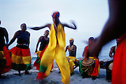 HONDURAS / Atlantida department / Triunfo de la Cruz. Garifuna community dancing. The Garifuna are settled along the Caribbean Coast and are ethnically descended from Amerindian and African people.....