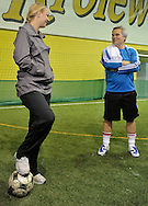 (L) CAROLINE WOZNIACKI ( DANEMARK ) AND HER FATHER PIOTR DURING SOCCER TRAINING NATIONAL TEAM OF POLISH JOURNALIST AT BEMOWO FOOTBALL HALL IN WARSAW. WHILE TENNIS GAMES ARE POSTOPONED BY STRONG RAIN DURING FIRST DAY INTERNATIONAL WOMEN TENNIS TOURNAMENT WTA POLSAT WARSAW OPEN AT LEGIA'S COURTS IN WARSAW, POLAND...WARSAW , POLAND , MAY 17, 2010..( PHOTO BY ADAM NURKIEWICZ / MEDIASPORT )..PICTURE ALSO AVAIBLE IN RAW OR TIFF FORMAT ON SPECIAL REQUEST.