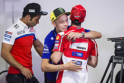 June 8, 2017 - Barcelona, Spain - MotoGP, Valentino Rossi(Ita), Movistar Yamaha Motogp Team hugs MotoGP, Andrea Dovizioso(Ita), Ducati Team during the press conference of MotoGp Grand Prix Monster Energy of Catalunya, in Barcelona-Catalunya Circuit, Barcelona on 8th June 2017 in Barcelona, Spain. (Credit Image: © Urbanandsport/NurPhoto via ZUMA Press)