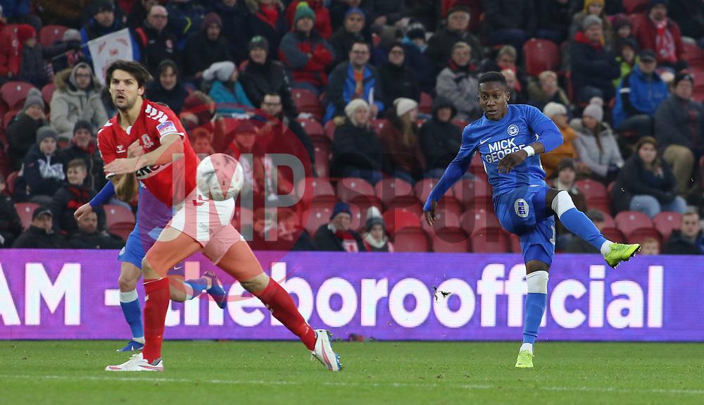 Siriki Dembele of Peterborough United shoots at goal against Middlesbrough - Mandatory by-line: Joe Dent/JMP - 05/01/2019 - FOOTBALL - Riverside Stadium - Middlesbrough, England - Middlesbrough v Peterborough United - Emirates FA Cup third round proper