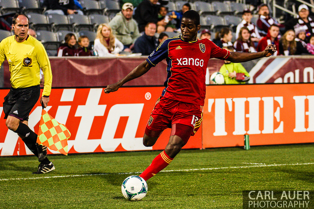 April 6th, 2013 - Real Salt Lake forward Olmes Garcia (13) with the ball in the second half of the MLS match between Real Salt Lake and the Colorado Rapids at Dick's Sporting Goods Park in Commerce City, CO