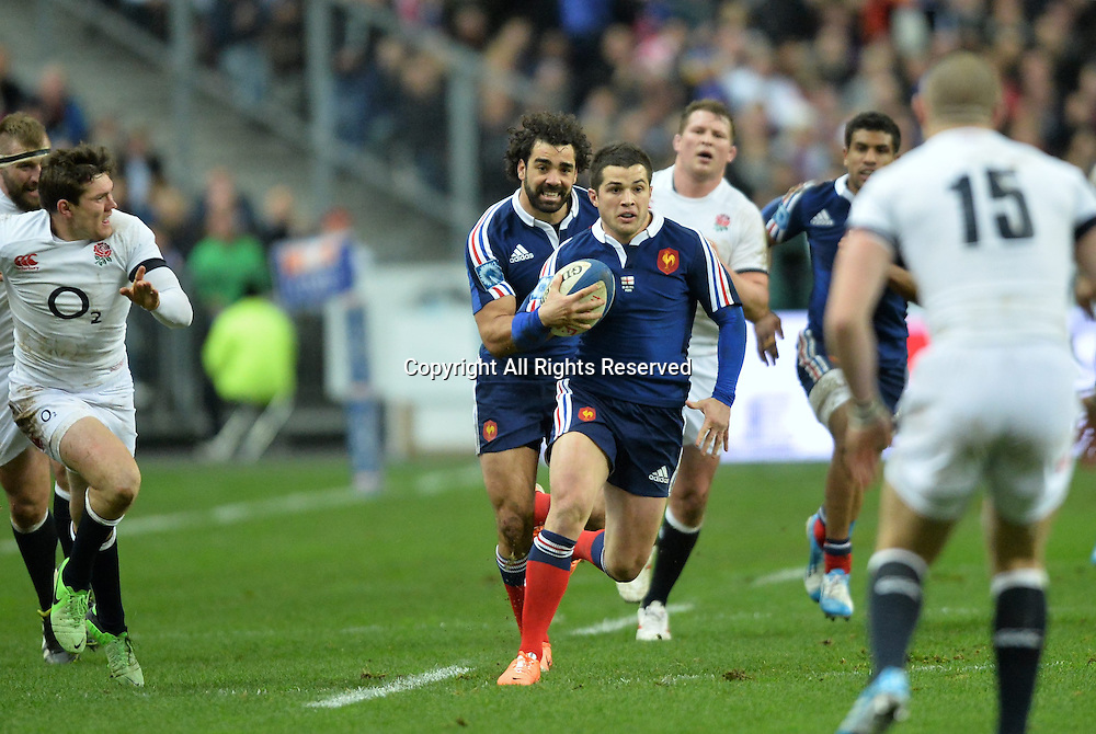 01.02.2014. Stade de France, Paris, France. 6 Nations International Rugby Union. France versus England.  Brice Dulin (fra) about to run into England's Brown tackle
