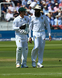 July 6, 2017 - London, England, United Kingdom - L-R Quinton de Kock of South Africa  and Hashim Amla of South Africa .during 1st Investec Test Match between England and South Africa at Lord's Cricket Ground in London on July 06, 2017  (Credit Image: © Kieran Galvin/NurPhoto via ZUMA Press)