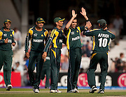 Umar Gul celebrates during the ICC World Twenty20 Cup match between Pakistan and New Zealand at the Oval. Photo © Graham Morris (Tel: +44(0)20 8969 4192 Email: sales@cricketpix.com)