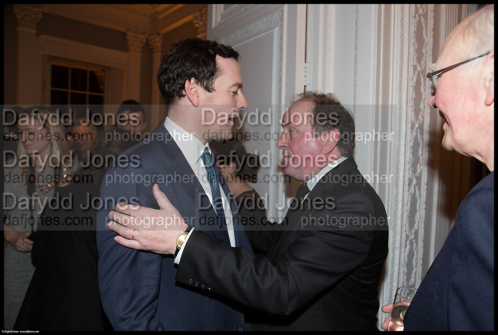 GEORGE OSBORNE; JAMES NAUGHTIE;  James Naughtie: The Madness of July published by Head of Zeus - book launch party, ICA, London. 25 February 2014.