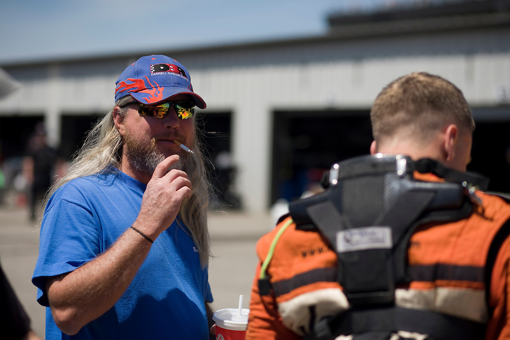 Buddy of driver in the pits prior to a ARCA/REMAX series race.