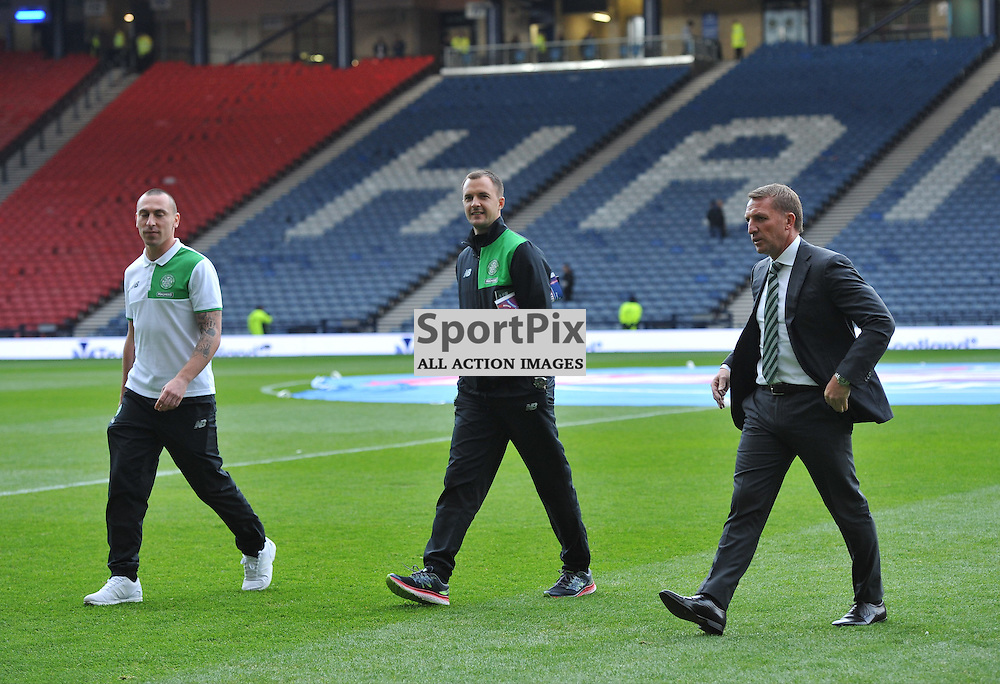 Scott Brown and Brendan Rodgers on the hampden pitch ahead of the match between Rangers v Celtic, Betfred Cup semi-final, Hampden Park, Sunday 23 October 2016, (c) Angie Isac | SportPix.org.uk