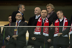 October 8, 2017 - Warsaw, Poland - Poland's Presidend Andrzej Duda (C) and President FIFA Gianni Infantino with President of Polish Football Association Zbigniew Boniek during the FIFA World Cup 2018 Qualifying Round Group E between Poland and Montenegro at the National Stadium in Warsaw, Poland on October 8, 2017  (Credit Image: © Andrew Surma/NurPhoto via ZUMA Press)