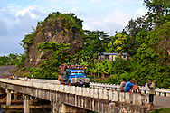 Truck crossing bridge in Yumuri, Guantanamo, Cuba.