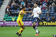 Preston North End Defender Greg Cunningham heads clear during the Sky Bet Championship match between Preston North End and Rotherham United at Deepdale, Preston, England on 2 January 2016. Photo by Pete Burns.