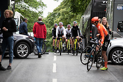 Drops Cycling Team riders warm up for Stage 5 of 2019 OVO Women's Tour, a 140 km road race from Llandrindod Wells to Builth Wells, United Kingdom on June 14, 2019. Photo by Balint Hamvas/velofocus.com