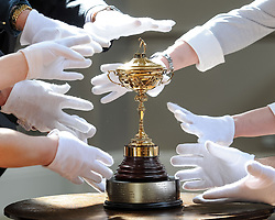 Many hands try to get to the replica Ryder Cup presented to Sergio Garcia in 2001,  which is expected to fetch up to &pound;8000 GBP in Bonham's sporting goods sale.<br /> <br /> &copy; Dave Johnston/ EEm