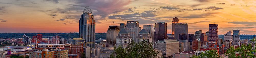 The Cincinnati skyline at sunset from atop Mt. Adams.