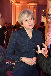 The Prime Minister Theresa May at The Sugarplum Dinner 2017 to benefit the type 1 diabetes charity JDRF held at the Victoria & Albert Museum, Cromwell Road, London England. 14 November 2017.<br /> Photo by Dominic O'Neill/SilverHub 0203 174 1069 sales@silverhubmedia.com