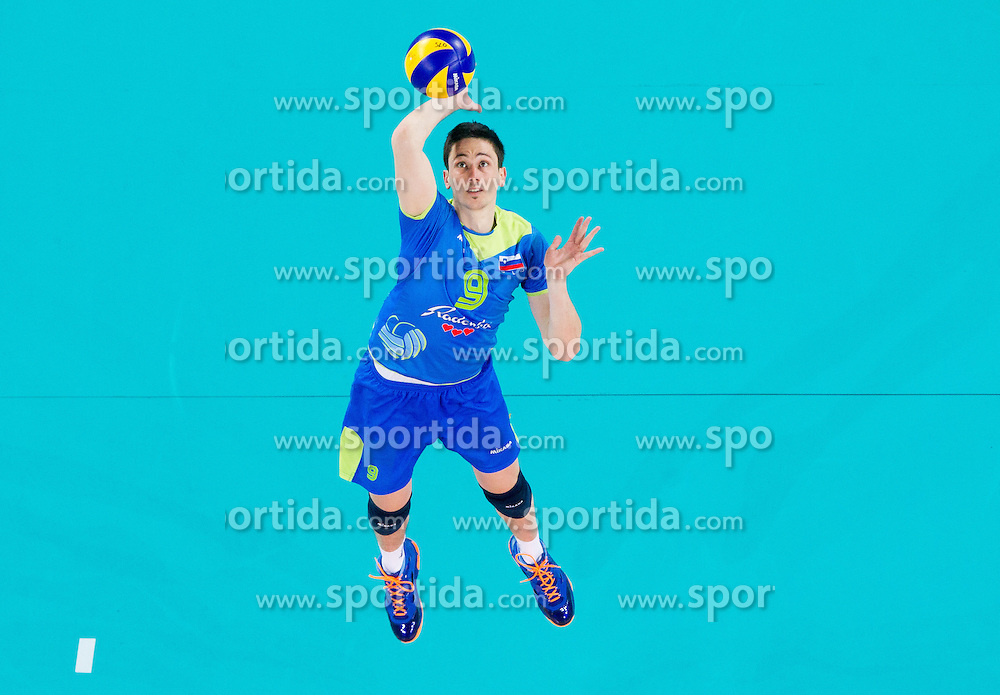 Dejan Vincic 39 of Slovenia during qualifications match of FIVB Men's Volleyball World Championship 2014 between National teams of Slovenia and Hungary in pool B on May 25, 2013 in Arena Stozice, Ljubljana, Slovenia. Slovenia defeated Hungary 3-0. (Photo By Vid Ponikvar / Sportida)