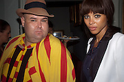 Ana Araujo; Leo Belicha, MARK FAST party, PARADISE, KENSAL GREEN. London. 28 July 2011. <br /> <br />  , -DO NOT ARCHIVE-© Copyright Photograph by Dafydd Jones. 248 Clapham Rd. London SW9 0PZ. Tel 0207 820 0771. www.dafjones.com.