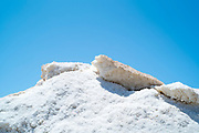 Detail close up of sea salt from the salt pans at Saline di Trapani e Paceco at Nubia, Paceco, Sicily, Italy