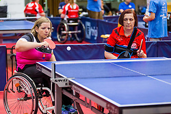 (Team SVK) KANOVA Alena and HABETINKOVA TOMIC Spomenka in action during 15th Slovenia Open - Thermana Lasko 2018 Table Tennis for the Disabled, on May 11, 2018 in Dvorana Tri Lilije, Lasko, Slovenia. Photo by Ziga Zupan / Sportida