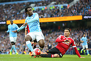 Manchester City forward Wilfied Bony (14)  goes close during the Barclays Premier League match between Manchester City and Manchester United at the Etihad Stadium, Manchester, England on 20 March 2016. Photo by Phil Duncan.