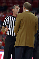 26 November 2016:  Jeb Hartness explains a situation to Dan Muller, Head Coach during an NCAA  mens basketball game between the Ferris State Bulldogs the Illinois State Redbirds in a non-conference game at Redbird Arena, Normal IL