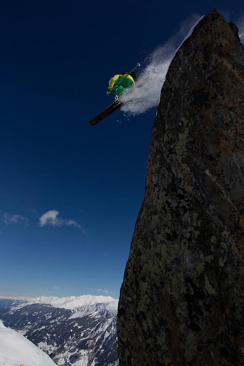 Jeremie Heitz from les Marécottes (Switzerland) in Holyday in Disentis jump a cliff just above the Gendusas chairlift at 2176m