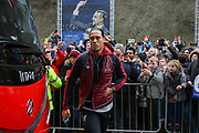 Liverpool defender Virgil van Dijk (4) arrives off the coach during the Premier League match between Brighton and Hove Albion and Liverpool at the American Express Community Stadium, Brighton and Hove, England on 12 January 2019.