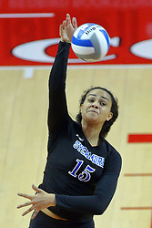 23 November 2017:  Nikkie White during a college women's volleyball match between the Drake Bulldogs and the Indiana State Sycamores in the Missouri Valley Conference Tournament at Redbird Arena in Normal IL (Photo by Alan Look)