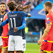 PARIS, FRANCE - September 10: Goalscorer Kingsley Coman #11 of France is embraced by Jonathan Ikone #22 of France who provided the assist for the first goal of the match during the France V Andorra, UEFA European Championship 2020 Qualifying match at Stade de France on September 10th 2019 in Paris, France (Photo by Tim Clayton/Corbis via Getty Images)