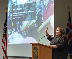 Alex Wilson, Associate Professor and the Academic Director of the Aboriginal Education Research Centre at the University of Saskatchewan, speaking for Earth Day at PLU on Tuesday, April 19, 2016. (Photo: John Froschauer/PLU)