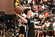 No Shnacks Guard LaMelo Ball (1) throws the ball across the court during a Drew League basketball game, Saturday, June 15, 2019, in Los Angeles.  (Dylan Stewart/Image of Sport)