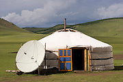 TV Satellite dish antenna, at a Ger, Mongolia