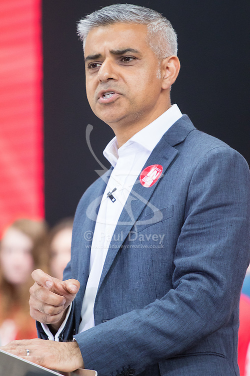 Kings Cross, London, June 22nd 2016. A final rally by members of the Labour Party's Vote Remain team is held in King's Cross, bringing London mayor Sadiq Khan, Welsh first minister Carwyn Jones, Labour In For Britain head Alan Johnson and Scottish leader Kezia Dugdale and Party Leader Jeremy Corbyn in a show of unity as they express the importance of a Remain vote. PICTURED: Mayor of London Sadiq Khan addresses the crowd.