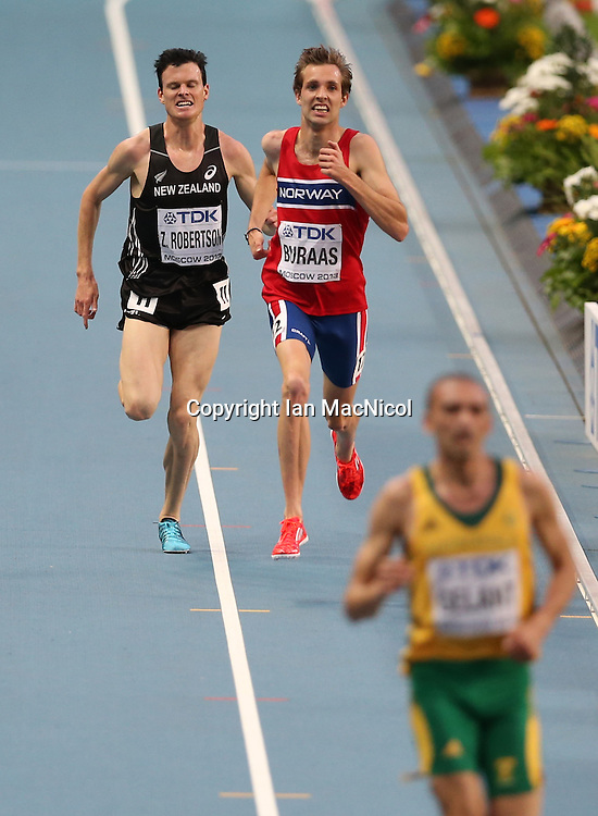 MOSCOW, RUSSIA - AUGUST 16:  Zane Robertson of New Zealand competes in the final of the Men's 5000m during Day Seven of the 14th IAAF World Athletics Championships Moscow 2013 at Luzhniki Stadium on August 16, 2013 in Moscow, Russia. (Photo by Ian MacNicol)