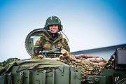 Commander for the Norwegian artillery battalion, Battery Nils, setting up for defence as part of the Unified Vision 2014 trial in Soeland, Norway.