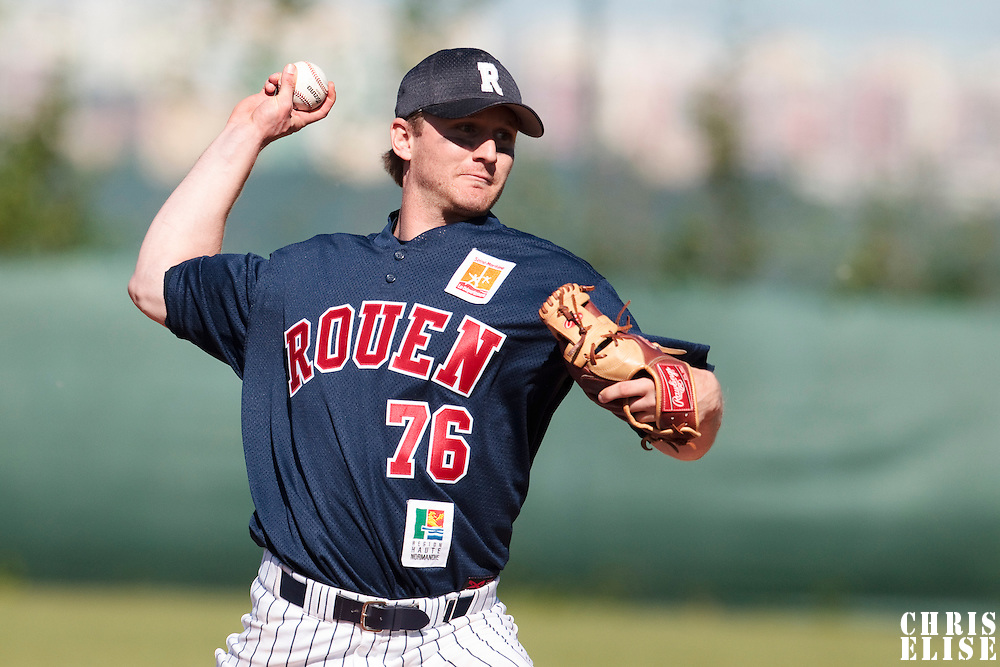 04 June 2010: Aaron Hornostaj of Rouen pitches against the Konica Minolta Pioniers during the 2010 Baseball European Cup match won 19-9 by Konica Minolta Pioniers over the Rouen Huskies, at the Kravi Hora ballpark, in Brno, Czech Republic.