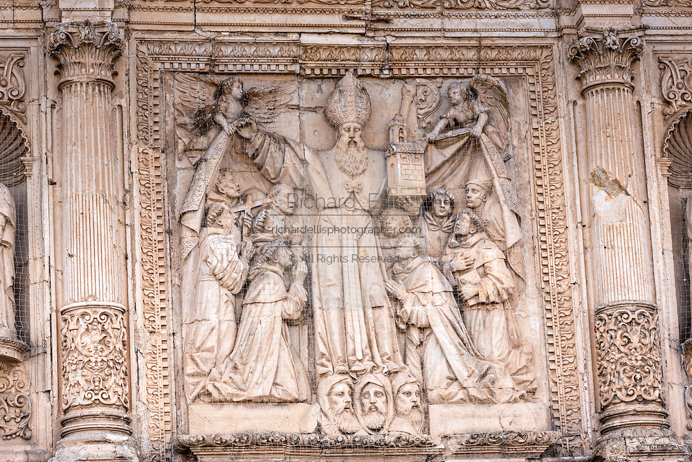 Bas relief at San Agustin Church and Convent in the historic district Oaxaca, Mexico.