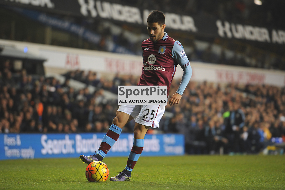 Aston Villas Carlos Gil in action during the Tottenham v Aston Villa match in the Barclays Premier League on the 2nd November 2015