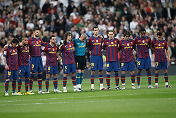 10.04.2010, Estadio Santiago Bernabeu, Madrid, ESP, Primera Division, Real Madrid vs FC Barcelona, im Bild Minute of silence to honour Polonia president and victims of accident. EXPA Pictures © 2010, PhotoCredit: EXPA/ Alterphotos/ Cesar Cebolla / SPORTIDA PHOTO AGENCY